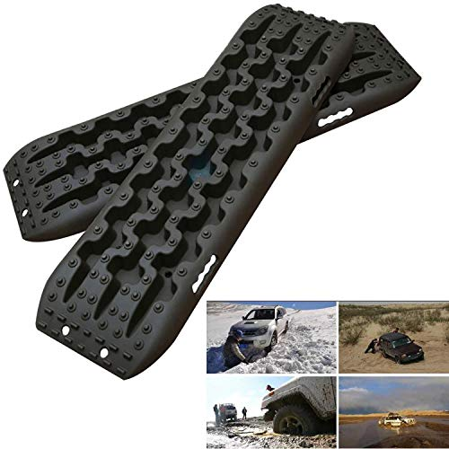 MAXFAVOR Large Size Traction Mat 2 Pack Black Tracks Tire Ladder 4WD Emergency Tires Traction Mats Track Trapped Recovery Boards Vehicle Extraction Tire