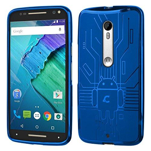 (Moto X Pure Case, Cruzerlite Bugdroid Circuit Case Compatible for Motorola Moto X Pure - Retail Packaging - Blue)