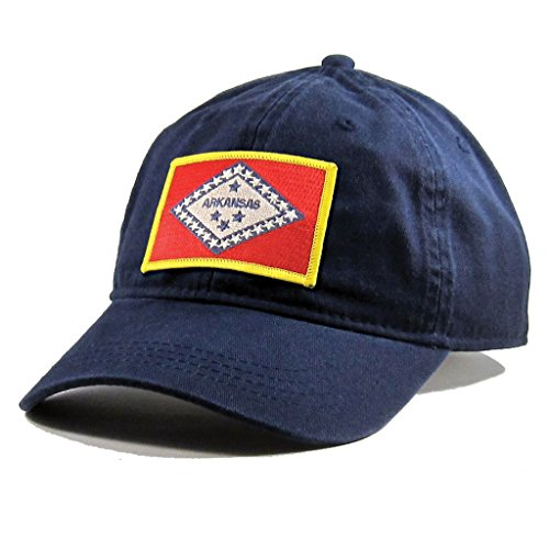 Homeland Tees Men's Arkansas Flag Patch Cotton Twill Hat (Eureka Day Springs Christmas)