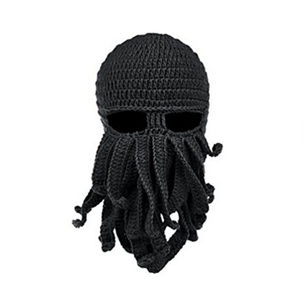 Stylish knit ski mask in octopus shape with tentacles. The full beard will  ... 8797be1342df