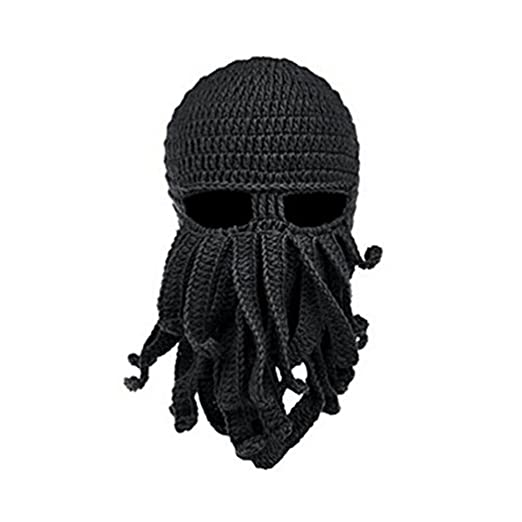 Herebuy8 Octopus Winter Warm Knitted Wool Ski Face Mask Knit Beard Squid  Beanie Hat Cap ( 3c8b905fbf57