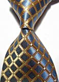 Dream Pole Modern Ties Checks Blue Gold 100% Silk Men's Necktie