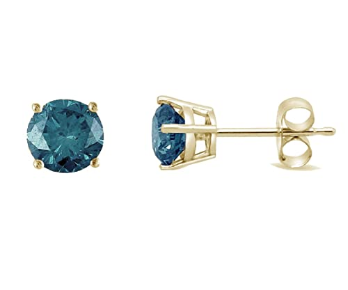 1 4 CTTW Blue Diamond Studs in 14K gold