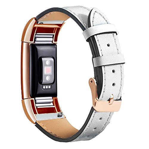 Wearlizer For Fitbit Charge 2 Leather Bands Special Edition Lavender Rose Gold Buckle, Replacement Leather Band/Straps/Accessories for Fitbit Charge hr 2 Small Large Women (White Rose Gold Buckle) - 2 Ladies Leather
