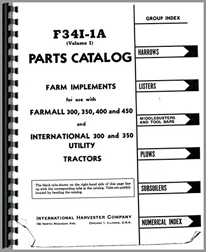 International Harvester 400 Tractor Implements Parts Manual