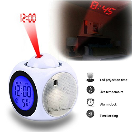 Projection Alarm Clock Wake Up Bedroom with Data and Temperature Display Talking Function, LED Wall/Ceiling Projection,Customize the pattern-923.Turned on Black Torchiere Lamp