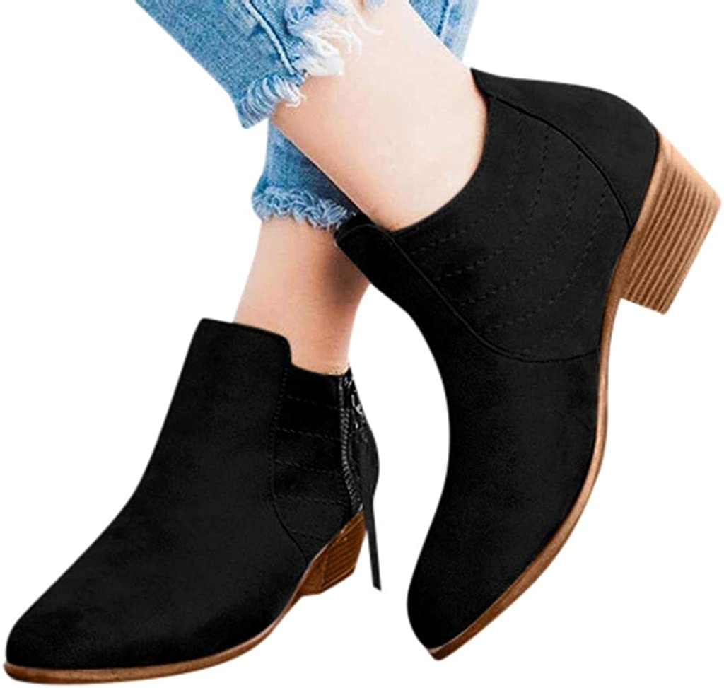 Womens Winter Booties,Claystyle Womens Ankle Boots Round Toe Faux Stacked Shoes Low Heel Side Zipper Autumn Booties