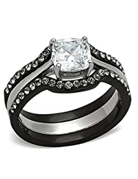 Wedding Ring Set Black Stainless Steel Cushion Shape AAA Cubic Zirconia 1.8 Ct Women's Non-Tarnish
