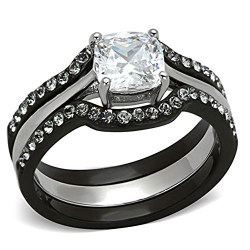 FlameReflection Black Stainless Steel Wedding Ring Sets Cushion Cut Cubic Zirconia Women size 4.5 to 11 SPJ