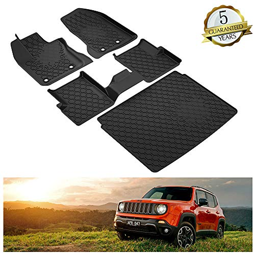 KIWI MASTER Floor Mats & Cargo Liners Set Compatible for 2015-2018 Jeep Renegade Cargo Floor Slush Liners Black All Weather Protector