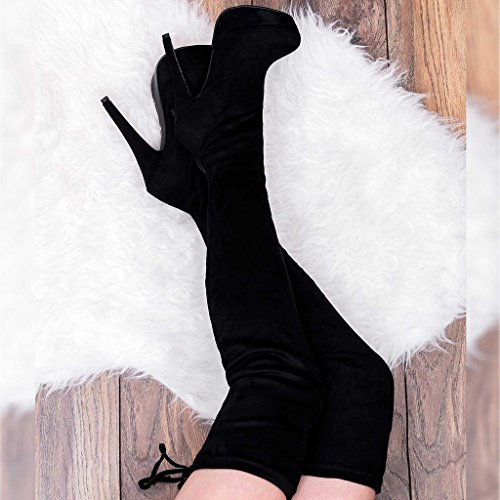 Platform Stiletto Boots Knee Over Closer Women's Tall Heel High Spylovebuy Style Black Suede EpnFqwXn