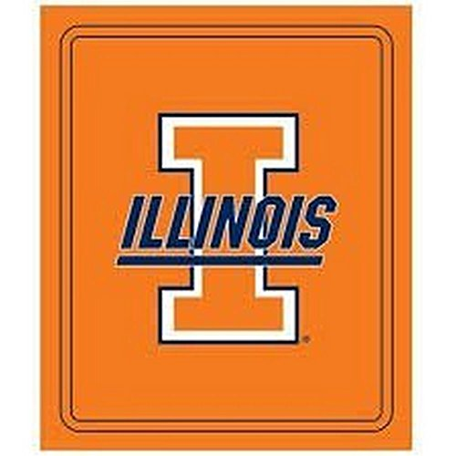 Logo NCAA Officially Licensed Classic Fleece Throw (Illinois Illini) (Fighting Blanket Illini)