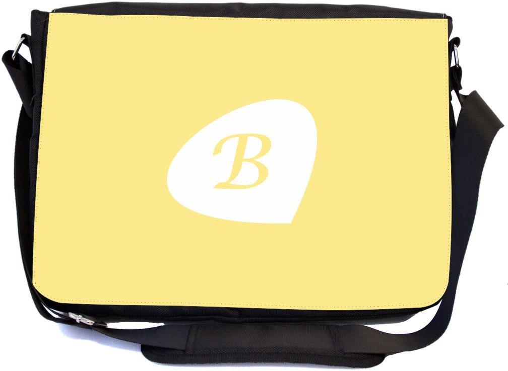 School Bag Rikki Knight LetterB Initials Primrose Yellow Color Petal Leaves Design mbcp-cond43389