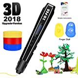 Uvital 3D Printing Pen for Kids, 3D Drawing Doodle Printer Pen 【2018 Upgrade Version】 Non-Clogging Bonus PLA Filaments Stencil eBook Best Gift for Children Adults Arts Crafts DIY Doodling(Black)