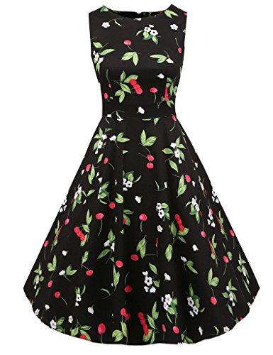Classic Party Pattern Women's Dresses Retro 1950s 7 Floral Cliont Rockabilly Vintage Cocktail Clolor Dress Evening Print ft7d8q