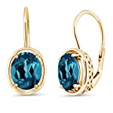 18K Yellow Gold Plated Silver London Blue Topaz Dangle Earrings, 3.60 Ctw Oval