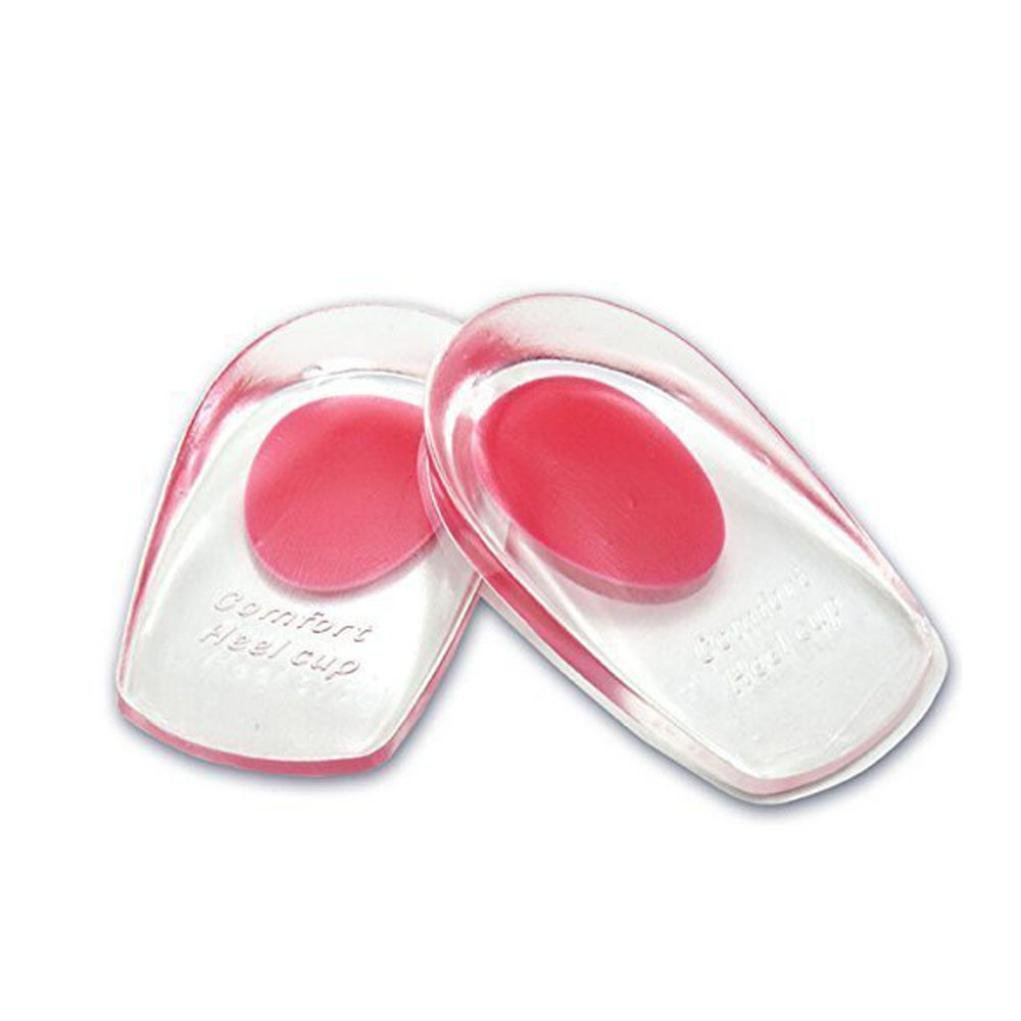 SUKEQ Heel Cups, 2 Pair of Silicone Gel Heel Cups Heel Support Pads Cushions Shoes Inserts for Plantar FasciitisHeel Pain (red)