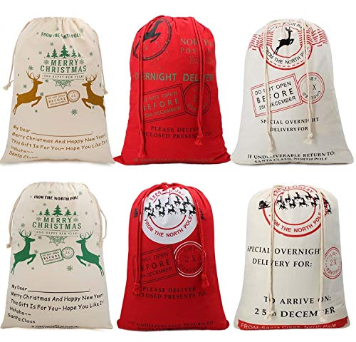 Large Christmas Sacks Santa Present Bag Christmas Gifts Sack Bags Elk Organic Heavy Canvas Bags with Red drawstring Bag, Big Reusable Shopping Bag(6 Random Patten)