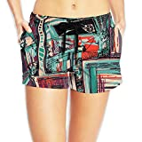 Lady Brand New Line Abstract Stereoscopic Painting Beach Pants