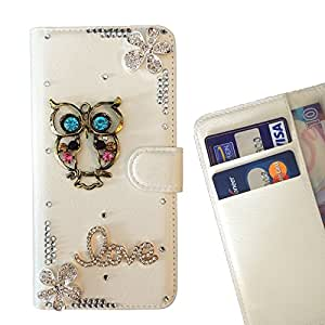 - Owl Love Flowers/ Slot Card Flip Case Cover Skin Bling Rhinestone Crystal Leather - Cao - For ZTE BLADE Q LUX 4G