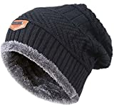 Winter Beanie for Girls Boys Kids (5-14 Years) Warm Snow Knit Hats Windproof HINDAWI Slouchy Skull Cap Black