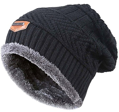 (Winter Beanie for Girls Boys Kids (5-14 Years) Warm Snow Knit Hats Windproof HINDAWI Slouchy Skull Cap Black )