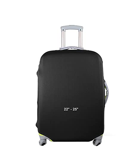 JAVOedge Black Stretch Fabric Luggage Travel Cover Fits Most Suitcases  22u0026quot;   25u0026quot; With