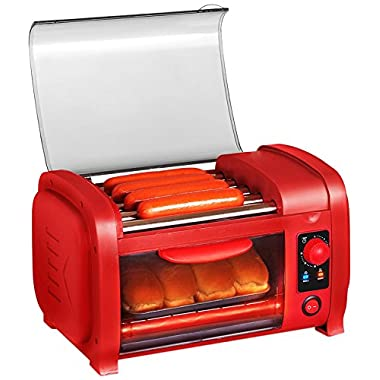 Elite Cuisine EHD-051R Maxi-Matic Hot Dog Roller Toaster Oven Combo, Red