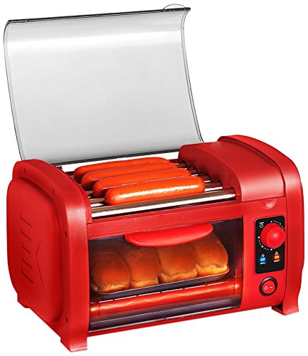 Elite Cuisine EHD-051R Maxi-Matic Hot Dog Roller Toaster Oven Combo, Red (Toaster Oven And Coffee Maker compare prices)