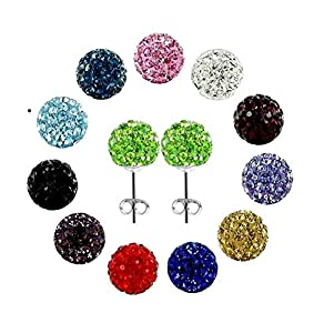 12 Shamballa Rhinestones Crystal Fireball Disco Ball Stud Earrings Set, Stainless Steel, Hypoallergenic