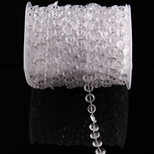 Airkoul 99ft Wedding DIY Acrylic Crystal White Beads Strand Decor Diamond Garland Iridescent