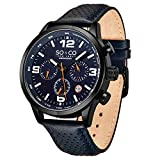 So and Co NY Men's Monticello Watch - Quartz Metal and Leather Sport - Stainless Steel (Blue)