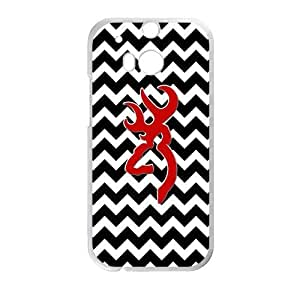 NEWPRODACT Black And White Chevron Red Color Browning Cutter Logo Case Cover Protector for Phone HTC One M8 (Laser Technology)
