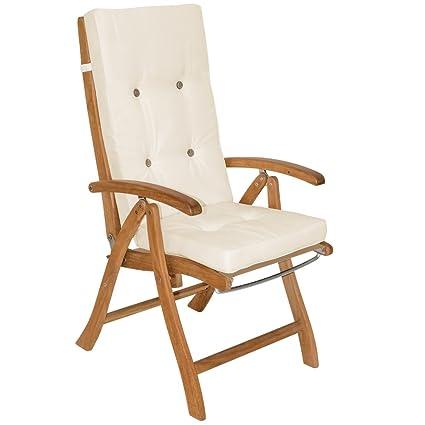Deuba 6x Garden Chair Cushions Pads For Chairs Cushion Seat Pad Ties High Back Elastic Straps Cream 120 X 45 Cm