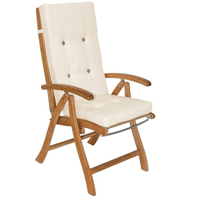 Deuba 6x Coussins de chaise - 100% Polyester - Pour Chaise à dossier haut Crème