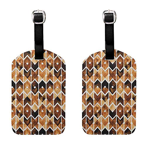 Bag Luggage Tags Watercolor,Chevron Geometric Motifs in Dark Coffee Colors Zigzag Tribal, Brown Caramel Pale Brown Leather Strap - Set of 2