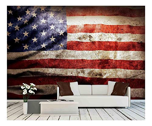 wall26 - Closeup of Grunge American Flag - Removable Wall Mural | Self-Adhesive Large Wallpaper - 66x96 inches