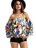 ROMWE Women's Off Shoulder Cute Loose Blouse Crop Top Multicolor One Size