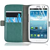 Galaxy S3 Case - Luxury Edition Leather Wallet Flip Cover for Samsung Galaxy S3 / S3 Neo, Turquoise