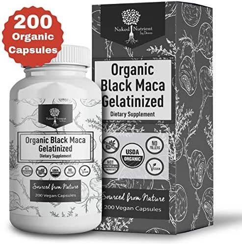 USDA Organic Vegan Gelatinized Black Maca Root- 3,000mg 3x concentrate per Serve-200 Vegan Capsules-Pure Peruvian Extract Powder Pills-Women & Men Supplement- Increase energy