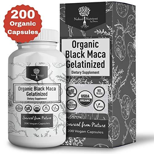 USDA Organic Vegan Gelatinized Black Maca Root- 3,000mg 3x concentrate per Serve-200 Vegan Capsules-Pure Peruvian Extract Powder Pills-Women & Men Supplement- Increase energy (Fish Oil Pills And Vitamin E For Booty)