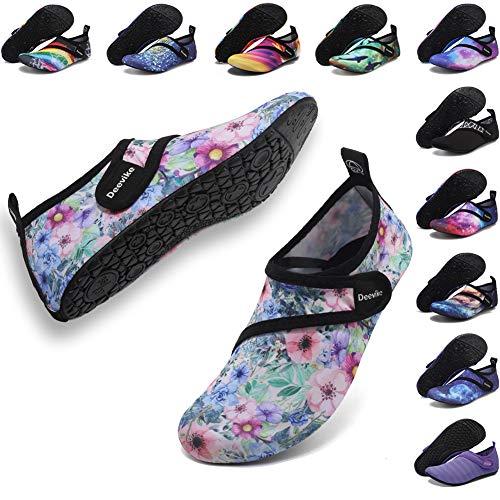 Deevike Barefoot Aqua Socks Quick-Dry Water Shoes Lightweight Beach Swim Pool Surf Yoga Exercise Shoes for Womens Mens Adult Flower Strap EU38/39