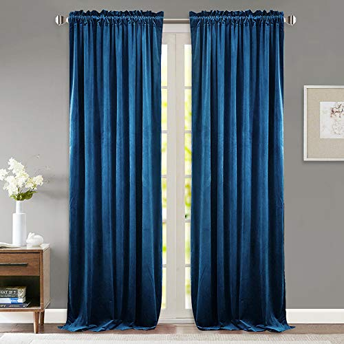 StangH Sunlight Block Velvet Curtain Panels - Sound Reducing Window Insulated Drapes Dual Rod Pockets Pleated Design Dinning Room/Bedroom, Royal Blue, 52 x 84 inch, 2 ()