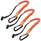 Tool Lanyard, Quick Release Shock Absorbing Safety Lanyard Retractable Bungee Cord with Carabiner Clip and Adjustable Loop End, 15 Ib Working Limit Fall Protection Equipment (3 Pack)