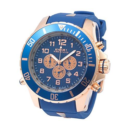 Kyboe! Chrono oro rosa cuarzo analógico reloj de pulsera para mujer de goma azul KYC