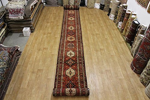Gharajeh Persian Rugs - Gharajeh Heriz Wool Hand Knotted Persian Extra Long Runner Rug 38 ft Extra Long For Stairs (38' 4'' X 2' 10'')