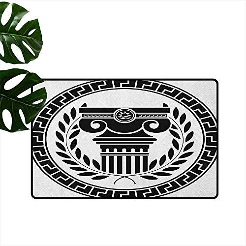 Hellenic Area Rugs - RenteriaDecor Toga Party,Door Mat Indoor Hellenic Column and Laurel Wreath Heraldic Symbol with Olive Branch Graphic 31