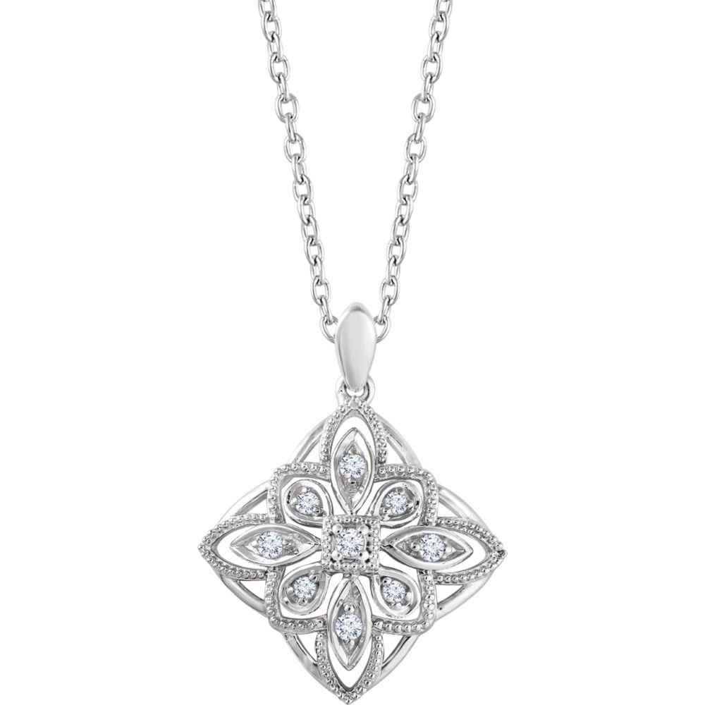 FB Jewels 925 Sterling Silver 1//10 CTW Diamond Granulated Filigree Necklace