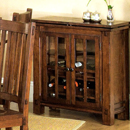 Amanda Home Fergus County Dining Collection Solid Cherry 9-Bottle Wine Bar
