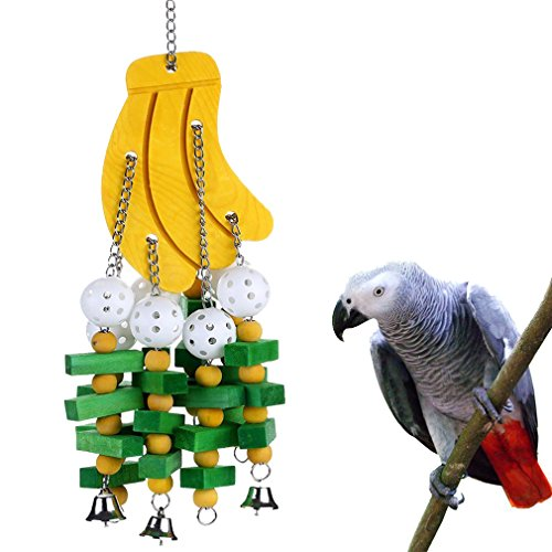 KINTOR Bird Chewing Toy Large Medium Parrot Cage Bite Toys African Grey Macaws Cockatoos Eclectus Amazon (Banana-22inch)